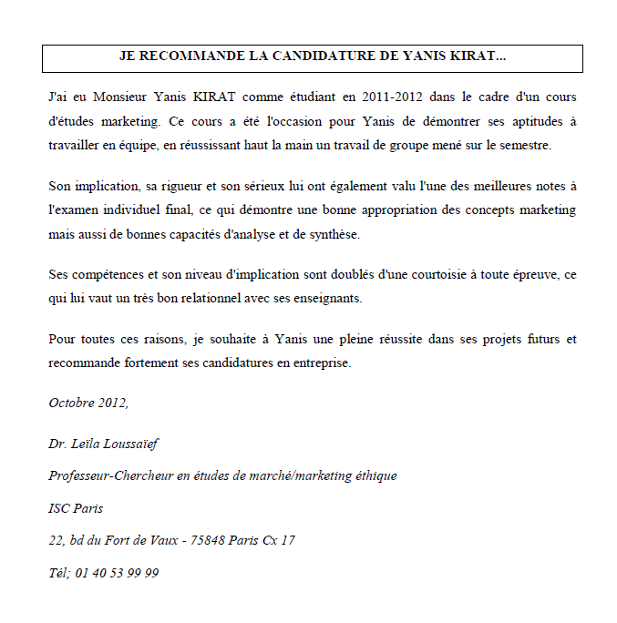 lettre de recommandation marketing   CV   Yanis KIRAT
